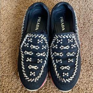 Prada Crystal Sneakers Slip On
